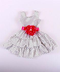 Loving this Mia Belle Baby White & Black Polka Dot Flower Tiered Dress - Toddler & Girls on #zulily! #zulilyfinds