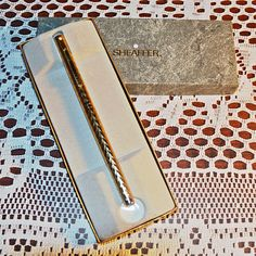 Items similar to Gold Plated Sheaffer Pen, White Dot Sheaffer Fountain Pen, Collectible Pen on Etsy Christmas Gifts For Him, Christmas Sale, Gifts For Dad, Sheaffer Fountain Pen, Dots Fashion, Trinket Boxes, Valentine Gifts, My Etsy Shop, How To Make