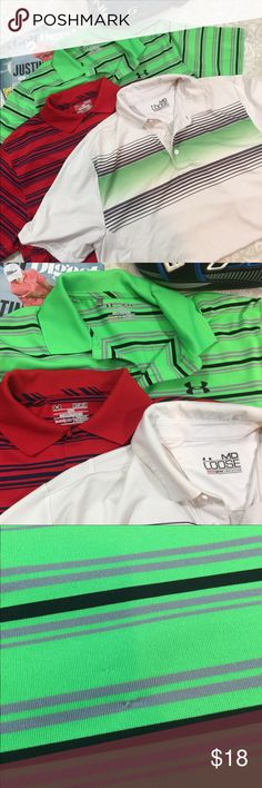 3 Men's Under Armor Golf Shirts Sz M Bundle of 3 men's Under Amour Heat Gear Golf Shirts.  Size M. Previously worn.  Good condition but some signs of wear.  See pictures.  Thanks for shopping my closet!   ⛳️ Under Armour Shirts Polos