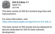 iOS 9.3 Beta 1.1 Release to Fix Installation issue