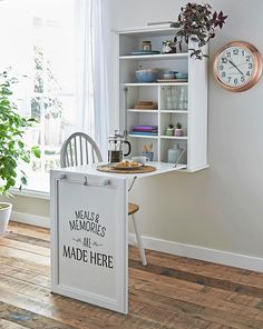 8 DIY Wall Mounted Folding Table Ideas Wall-mounted dining … Wall-mounted drop-leaf table – Fold down desk – Small kitchen table – Side table… Wall-mounted drop-leaf … wall table DIY. you'll learn how to make and install a wall-mounted folding table. Folding Furniture, Folding Walls, Diy Furniture, Furniture Design, Space Furniture, Furniture Stores, Wall Mounted Folding Table, Wall Mounted Kitchen Table, Wall Mounted Bar