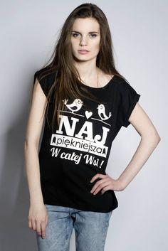 """Koszulka,,Najpiękniejsza w """" (BLACK)  w ŁAP NAS na DaWanda.com"""