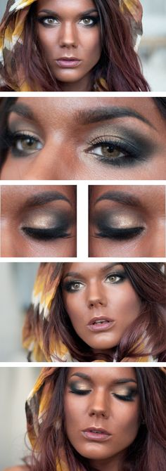 """Today's Look : """"Something Different"""" -Linda Hallberg (a gorgeous smokey eye using golds and browns and blacks with a natural lip) 07/14/13"""