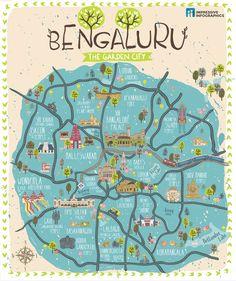 Bangalore City Map Art Print by Impressive Infographics - X-Small Mysore, Hampi, Bangalore City, Road Trip Map, Tourist Map, Tourist Places, Pictorial Maps, Framed Maps, Down South