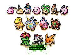 Digimon Adventures Perler Srites por ShowMeYourBits en Etsy