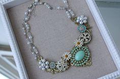Mint Grün Erklärung Halskette Vintage Emaille Blume von SusieKays