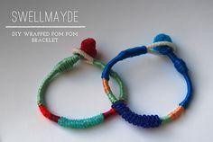 Creative: Eleven Pompom Projects  (2. Wrapped pom pom bracelet, via Swell Mayde)