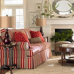A #traditional red stripe with a surprising pop of #leopard print! By Bassett Furniture