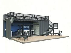 It is conception of coffee of shop in a container. Sizes of container: 3 meters breadthways, 3 in a height, 6 in length. Similarly there toilet room and pantry. Style a modern loft, concrete, threw, glass.