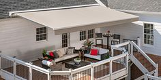 Patio Shade Ideas Retractable Awning Ideas For 2019 Deck With Pergola, Wooden Pergola, Backyard Pergola, Patio Roof, Pergola Plans, Pergola Ideas, Pergola Kits, Railing Ideas, Pergola Cover
