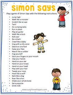 14 Equipment Free Outdoor Games Your Kids Will Go Crazy For! These 14 outdoor games for kids are super fun and none of them require any equipment at all; not even a ball! Do you need ideas to keep your game of Simon Says going strong? Try these ideas. Gross Motor Activities, Fun Activities, Preschool Physical Activities, Listening Activities For Kids, Proprioceptive Activities, Creative Curriculum Preschool, Child Development Activities, Animal Activities For Kids, Rainy Day Activities For Kids