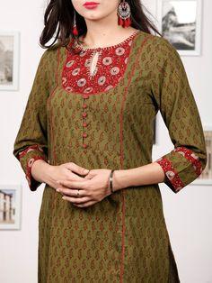 Olive Green Maroon Bagh Printed Kurta in Natural Colors - Salwar Neck Designs, Neck Designs For Suits, Churidar Designs, Kurta Neck Design, Sleeves Designs For Dresses, Dress Neck Designs, Kurta Designs Women, Stylish Dress Designs, Blouse Designs