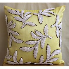 Yellow Decorative Pillow Cover 16x16 Silk Throw by TheHomeCentric