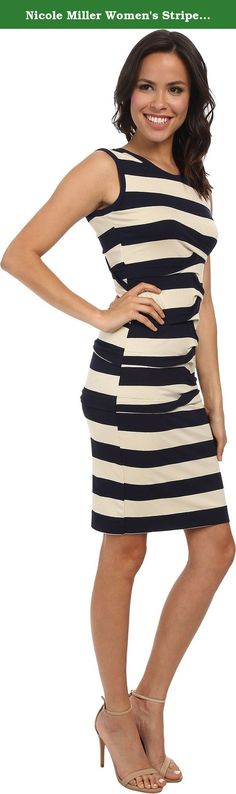 Nicole Miller Women's Stripe Jersey Tank Dress w/ Cutout Ivory/Navy Dress PT (US 0-2). Stretch-rayon sheath dress features uniquely pleated, horizontal stripes throughout. Sleeveless silhouette has a round neckline. Open back, twist detail. Slip-on style; no closure. Straight hem. Unlined. 92% rayon, 8% elastane. Hand wash cold, dry flat. Made in the U.S.A. and.