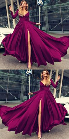 Hunter Green Long Sleeves Evening Dresses with Slit 2018