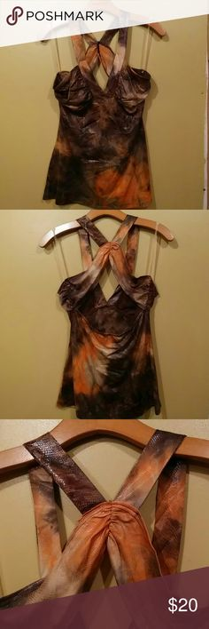 Sexy Brown Halter Top NWT Brown & Orange skin print halter top. Racer back. Rouching at sides of bra top and in back. NWT. Tops