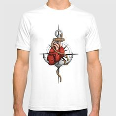 Love and Sea (anchor with heart and compass) by #Beatrizxe | #society6 #shirt #tee #fashion Illustration of a heart pierced by an anchor and surrounded by a rope. The background is a compass or windrose. It has a maritime theme, due to It shows a love for the sea and everything it contains.#ocean #sea #tattoo #navy #ship #sailor #nautical #anchor #beach #sailing #boat #oldschool #waves #tide #heart #love #rope #compass #windrose #ink #travel #journey #voyage #illustration #draw #drawing #art