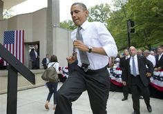 #6 9/17/12 President Barack Obama arrives to speak at a campaign event at Eden Park's Seasongood Pavilion, Monday, Sept. 17, 2012, in Cincinnati, Ohio.  Associated Press