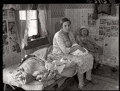 """1936  Summary: Interior of Ozarks cabin housing six people in Missouri. Tiny is nothing new, and historically, it's rarely been a choice. Worth remembering as the """"Great Recession' grinds on..."""