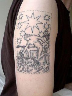 """""""The Star"""" tarot card tattoo, Duke Riley, of East River Tattoo, Brooklyn, NY. Star Tattoos, Great Tattoos, Body Art Tattoos, New Tattoos, Sleeve Tattoos, Inspiring Tattoos, Cup Tattoo, Tatoo Art, Tattoo You"""