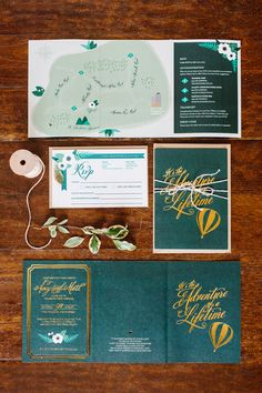 Gold Foil Wedding Invitation Suite | Design by The Wondery | Green & Gold wedding palette