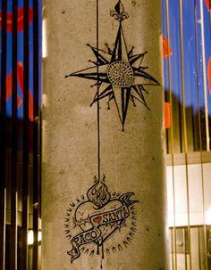 Tatoo in a column. Restaurant 'Santa', Barcelona. Spain