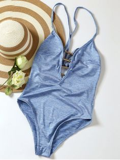 0ef013cd00 $11.99 Lace Up Plunge Neck Monokini - LIGHT BLUE M Summer Swimwear, Bikini  Swimwear,
