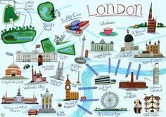 London Tourist Map, 2008, (gouache), Smith, Anne / Private Collection / Bridgeman Images