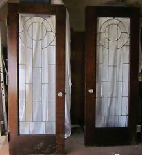 interior wood and glass panel doors | Antique Solid Wood Leaded Glass Interior French Door Set-Circa 1900 ...