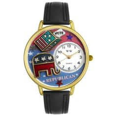 Whimsical Watches Women's G1110003 Unisex Gold Republican Black Leather And Goldtone Watch Whimsical Watches. $40.99. Republican design. Comes in gift box. Japanese quartz movement. Plastic crystal; gold tone stainless steel case; leather strap. Gold tone second hand. Save 57% Off!