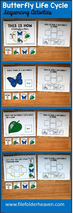 These Butterfly Life Cycle Sequencing Activities include 1 Adapted Book and 1 accompanying worksheet. The Butterfly Life Cycle Adapted Book teaches a simple 4 step life cycle for the butterfly, includes hands-on interaction with the text, and reinforces sequencing skills.  Adapted Book Included:    This Is How a Butterfly is Born  The teacher or therapist reads book as students follow along, matching each step of the life cycle on each page.