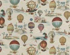 pattern still around 13 years later— LES AERONEFS - Designed by Pierre Frey Pierre Frey Fabric, Balloon Illustration, Custom Carpet, Fabric Wallpaper, Hot Air Balloon, Decoration, Textiles, Drawings, Prints