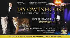 Have you heard that Jay Owenhouse The Authentic #Illusionist is coming to the #FiveFlagsTheater in #Dubuque February 12th? It is going to be a fantastic evening! #Iowa #Madison #CedarRapids #IowaCity #Bettendorf #Davenport #RockIsland #Platteville #Dodgeville #PrairieDuChien #Rockford #Freeport #Galena