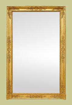 Grand miroir cheminée ancien d'époque Empire à la feuille d'or French Country Furniture, French Castles, Mirrors For Sale, French Empire, Antique Mirrors, Luxury Homes, Oversized Mirror, 19th Century, 18th