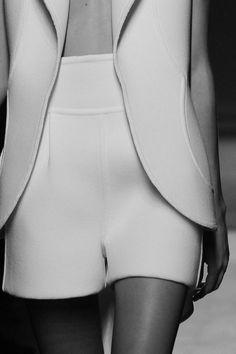 Chic Minimalist Tailoring - white shorts & jacket, minimal fashion details // Saint Laurent Spring 2010