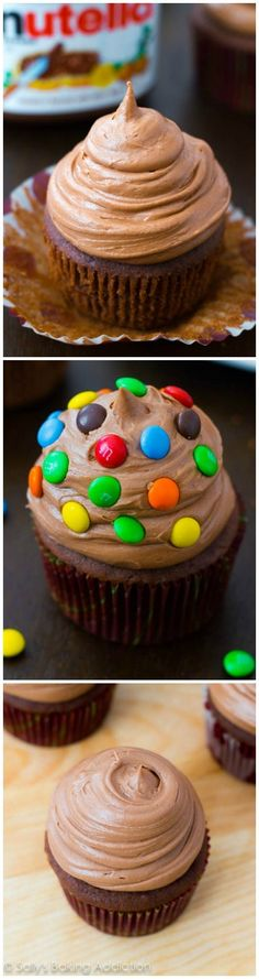 Super moist and rich homemade chocolate cupcakes topped with creamy Nutella buttercream frosting!