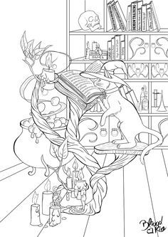 Wiccan Coloring Pages | Witches Cat and the Magic Book -lineart- by bliood-kira.deviantart.com ...