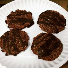 Banana Coconut Cocolate Cookies - banana, shredded coconut, coconut oil, unsweetened cocoa powder, liquid stevia