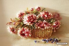 Хризантемы вышиты шёлковыми лентами .Корзина выполнена синтетическими лентами.