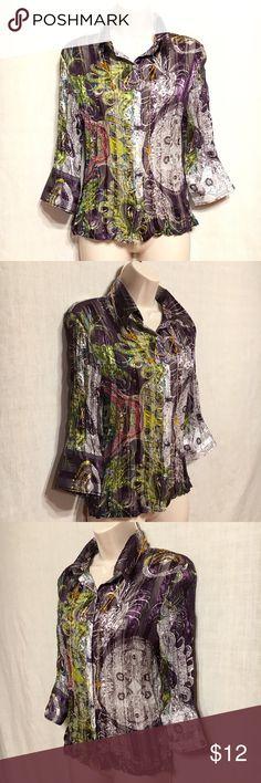 "Violet & Claire. Blouse Classic Collar. Long Sleeve. Button Down Blouse. 100% Crinkle Polyester. Machine Washable. Measurements: (flat)  Chest: 17""  Waist: 15""  Length:  24"". Violet & Claire Tops Blouses"