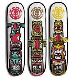 Element - Totem Series Decks - Ideas for Hybrid Longboard Skateboard Deck Art, Skateboard Parts, Skateboard Design, Skate Ramp, Skate Decks, Skate Surf, Skate Element, Nike Skateboarding, Skate And Destroy