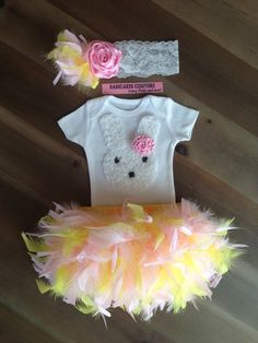 Easter Bunny Outfit Couture Feather Bloomer, Bodysuit & Headband Spring, Easter, 1st Easter, Easter Cake Smash, Newborn, New Baby Photo Prop on Etsy, $64.00