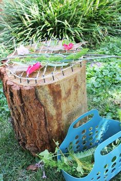 Make a natural loom from a tree stump.
