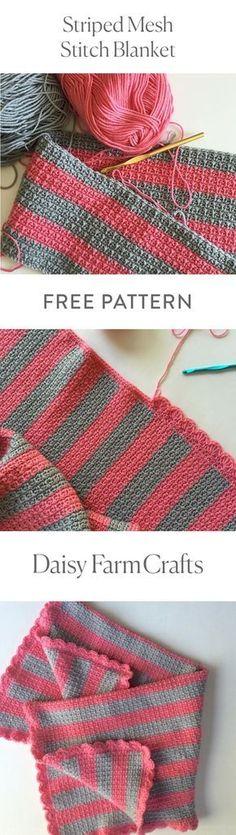 FREE PATTERN Striped Mesh Stitch Blanket by Daisy Farm Crafts