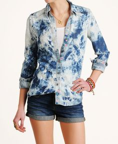 Blank Tencel & Rosebud Tie Dye Long Sleeve Button Down Shirt