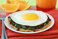 Cheesy Spinach Breakfast Tostada Recipe | Hungry Girl