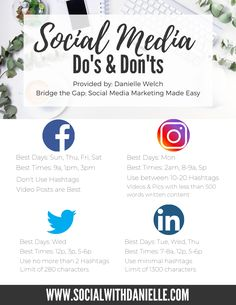 A quick and simple Social Media Dos & Donts cheat sheet for the 4 social media channels including days and times best to post and general dos & donts. Social Media Content, Social Media Tips, Social Media Channels, Social Media Cheat Sheet, Social Media Posting Schedule, Social Media Calendar, Tips Instagram, Instagram Marketing Tips, Facebook Instagram