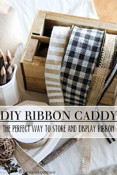 DIY Ribbon Storage Caddy - the perfect way to display and store ribbon!