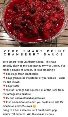 Monster Energy Drink For Weight Loss Weight Watchers Sides, Weight Watchers Meal Plans, Weight Watchers Desserts, Ww Recipes, Fall Recipes, Holiday Recipes, Cooking Recipes, Cranberry Salad Recipes, Ww Desserts