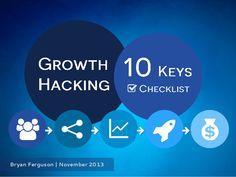 Growth Hacking - 10 Key Checklist by Bryan Ferguson via slideshare Seo Services Company, Seo Company, Professional Seo Services, Seo Basics, Growth Hacking, Information Technology, Marketing, Effort, Hacks